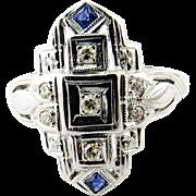 Art Deco 18K White Gold Diamond Sapphire Ring Size 6.75