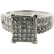 Vintage 14 Karat White Gold Diamond Ring Size 9