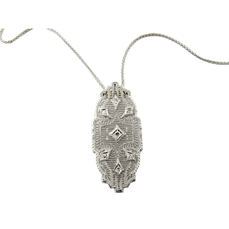 Vintage 14 Karat White Gold Necklace and Diamond Pendant