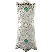 Vintage 14 Karat White Gold Diamond and Emerald Pendant