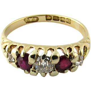 Vintage 18 Karat Yellow Gold Ruby and Diamond Ring Size 5.75