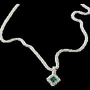 Vintage 18 Karat White Gold Emerald and Diamond Pendant Necklace