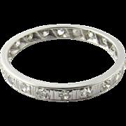 Vintage Platinum Diamond Wedding Band Ring Size 7.5