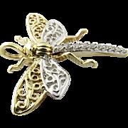 Vintage 10 Karat Two-tone Gold and Diamond Dragonfly Pendant