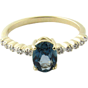 Vintage 14 Karat White Gold London Blue Topaz and Diamond Ring Size 7