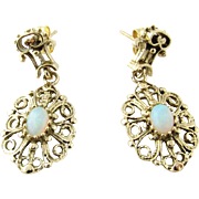 Vintage 14 Karat Yellow Gold Opal Earrings
