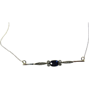 Platinum and 14 Karat White Gold Sapphire Necklace