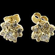 Vintage 14 Karat Yellow Gold Diamond Earrings