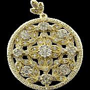 Vintage 14 Karat Yellow Gold Diamond Floral Round Pendant