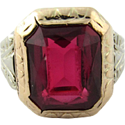 Vintage 10 Karat Yellow Gold Synthetic Ruby Ring Size 7