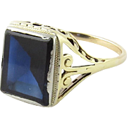 Vintage 14K Yellow Gold and Synthetic Sapphire Filagree Ring Size 5.5