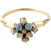Vintage 10 Karat Yellow Gold Opal and Pearl Ring Size 7.5