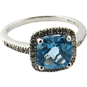Vintage 14 Karat White Gold Blue Topaz and Diamond Ring Size 7.25