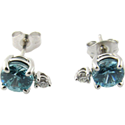 Vintage 14 Karat White Gold Blue Topaz and Diamond Earrings