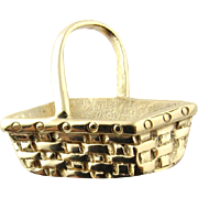 Vintage 14 Karat Yellow Gold Longaberger Basket Charm
