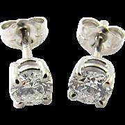 Vintage 14 Karat White Gold Diamond Stud Earrings .76 ct.