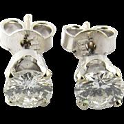 Vintage 14 Karat White Gold Diamond Stud Earrings .84 ct.