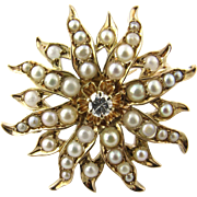 Antique 14 Karat Yellow Gold Pearl and Diamond Brooch/Pendant
