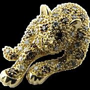 Vintage 14 Karat Yellow Gold and Diamond Leopard Pendant