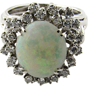 Vintage 14 Karat White Gold Opal and Diamond Ring Size 8.5 mm