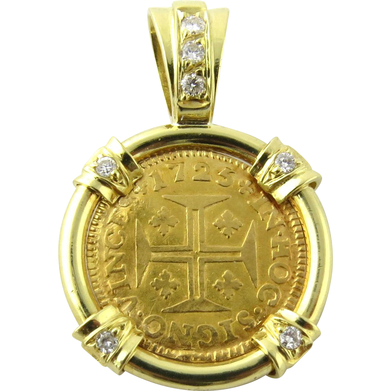 Gold And Silver Mining In Portugal Mail: Portuguese 400 Reis Coin 1725 Diamond 18K Yellow Gold
