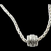 Vintage 14 Karat White Gold Diamond Barrel Pendant Necklace