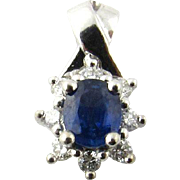 Vintage 14 Karat White Gold Sapphire and Diamond Pendant
