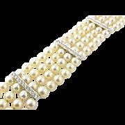 Vintage Platinum Pearl and Diamond Bracelet