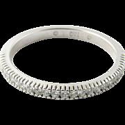 Vintage 18 Karat White Gold Diamond Wedding Band Size 7.25