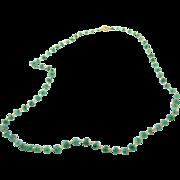 Vintage 14 Karat Yellow Gold Natural Emerald Bead Necklace