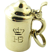 Vintage 14 Karat Yellow Gold Articulated Hofbrauhaus Beer Stein Charm