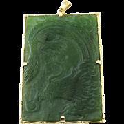 Vintage 14 Karat Yellow Gold Jade Pendant