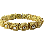 Antique 14K Yellow Textured Gold and Old Mine Diamond Bracelet