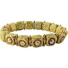 Antique 14K Yellow Textured Gold and Old Mine Diamond Bracelet