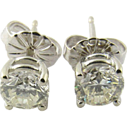 Vintage 14K White Gold Round Brilliant Diamond Stud Earrings .90 cts