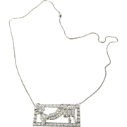 Vintage 14K White Gold and Platinum Diamond Pendant Necklace 2.75 cts.