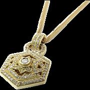 "Vintage BITA 14K Yellow Gold Diamond Pendant Necklace 1.44 carats 16"""