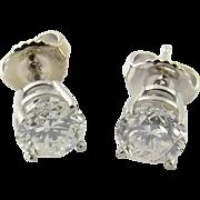 Vintage Platinum Diamond Stud Earrings 1.2 cts