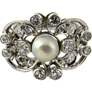 Vintage 14 Karat White Gold Pearl and Diamond Ring Size 9