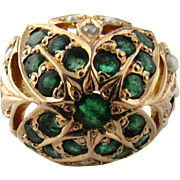 Vintage 14 Karat Yellow Gold Emerald and Pearl Ring Size 7.75