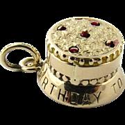Vintage 14 Karat Yellow Gold 3D Mechanical Birthday Cake Charm