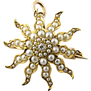 Vintage 14K Yellow Gold Victorian Seed Pearl and Diamond Starburst Pin / Pendant