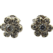 Vintage 14 Karat White Gold Diamond Flower Earrings