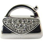 Vintage 18 Karat White Gold and Diamond Handbag Charm