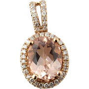 Vintage 14 Karat Rose Gold Morganite and Diamond Pendant