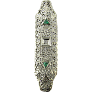 Antique 14 Karat White Gold Emerald and Diamond Pendant