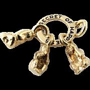 Vintage 14 Karat Yellow Gold Secret of Happiness Charm