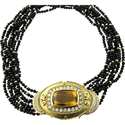 Vintage 18K Yellow Gold Diamond and Citrine Multi Onyx Strand Necklace and Brooch