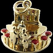 Vintage 14 Karat Yellow Gold Mechanical Bartender Charm