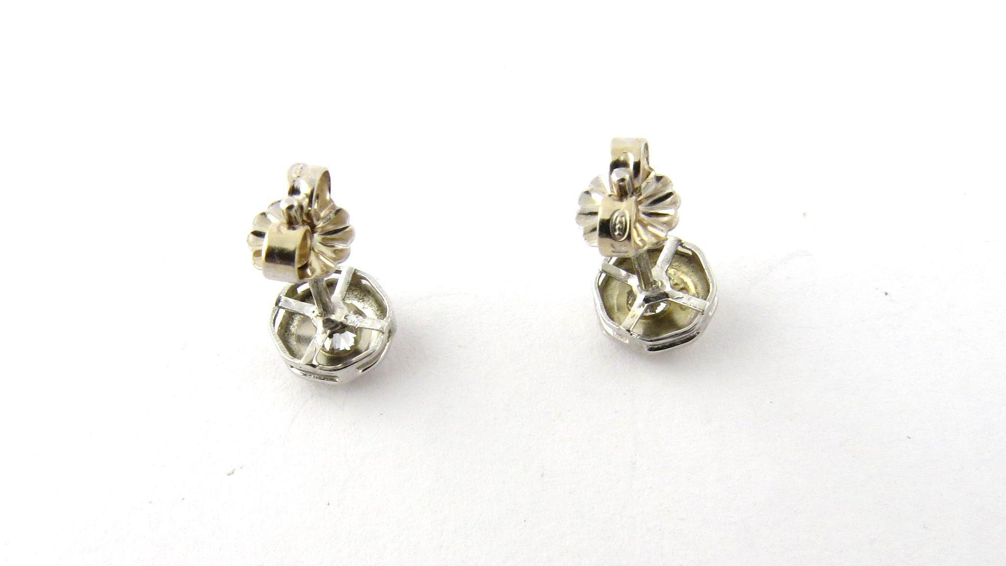 Vintage 14K White Gold Octagon European Cut Diamond Stud Earrings